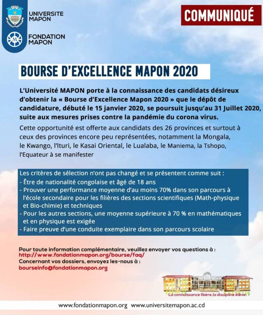 BOURSE D'EXCELLENCE MAPON 2020