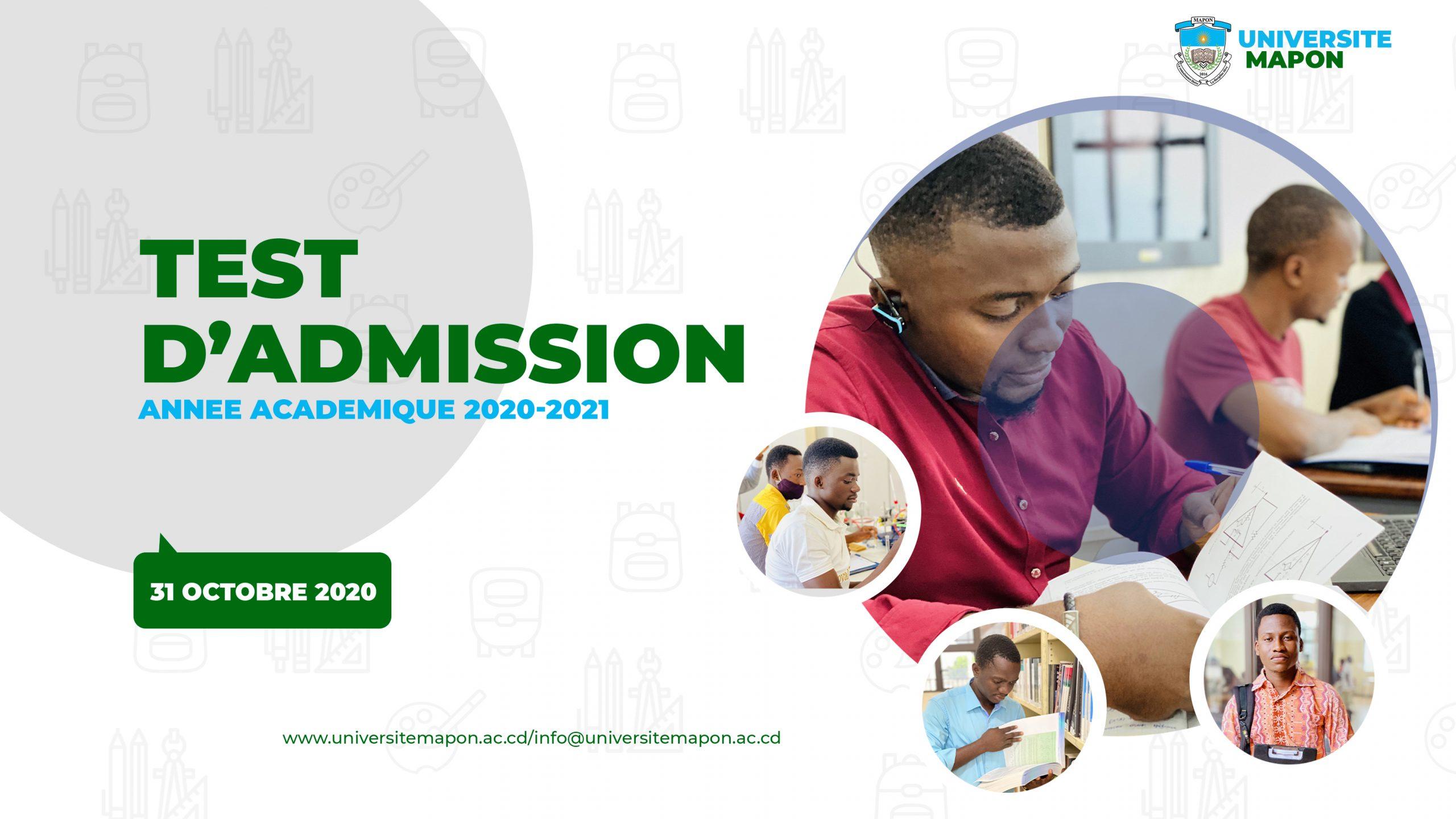 Organisation du concours d'admission  pour l'année académique 2020-2021